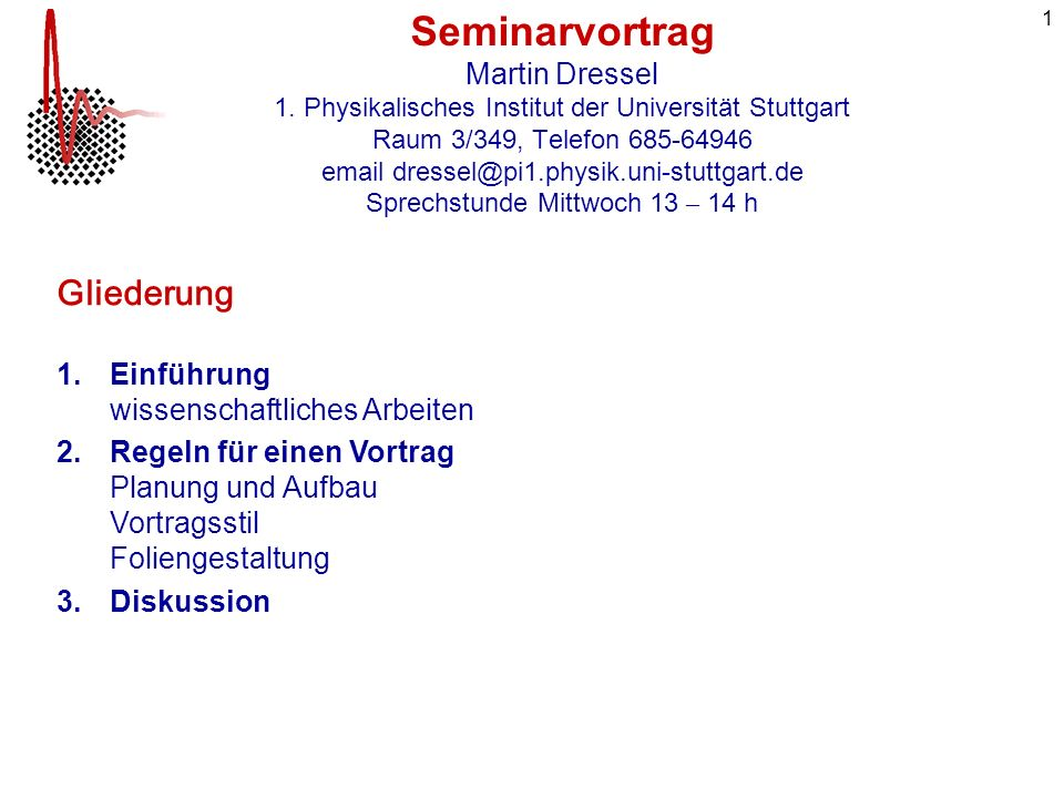 Seminarvortrag Martin Dressel 1