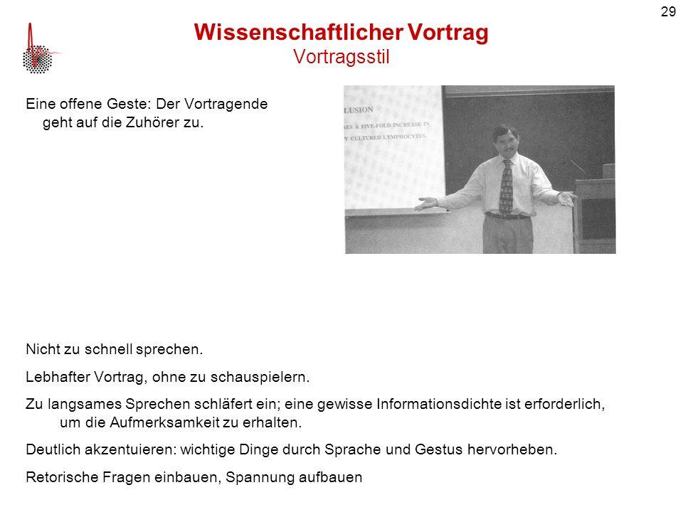 Wissenschaftlicher Vortrag Vortragsstil