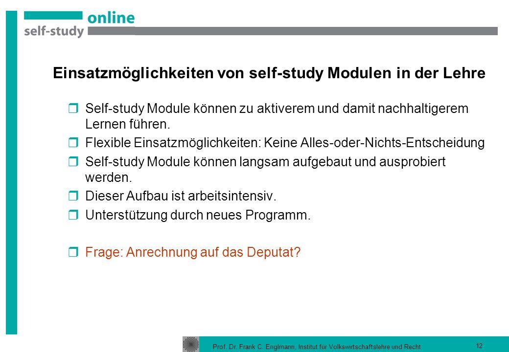 Einsatzmöglichkeiten von self-study Modulen in der Lehre