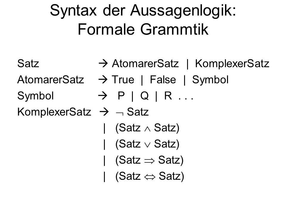 Syntax der Aussagenlogik: Formale Grammtik