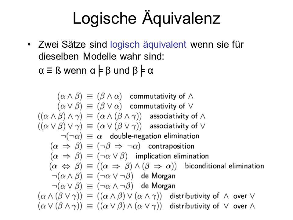 Logische Äquivalenz Zwei Sätze sind logisch äquivalent wenn sie für dieselben Modelle wahr sind: α ≡ ß wenn α╞ β und β╞ α.