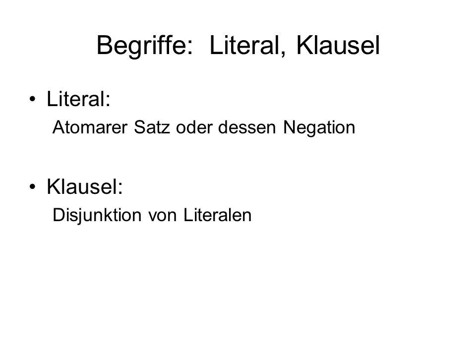 Begriffe: Literal, Klausel