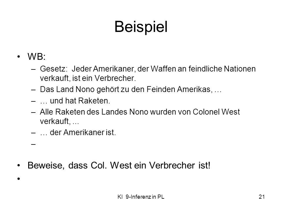 Beispiel WB: Beweise, dass Col. West ein Verbrecher ist!
