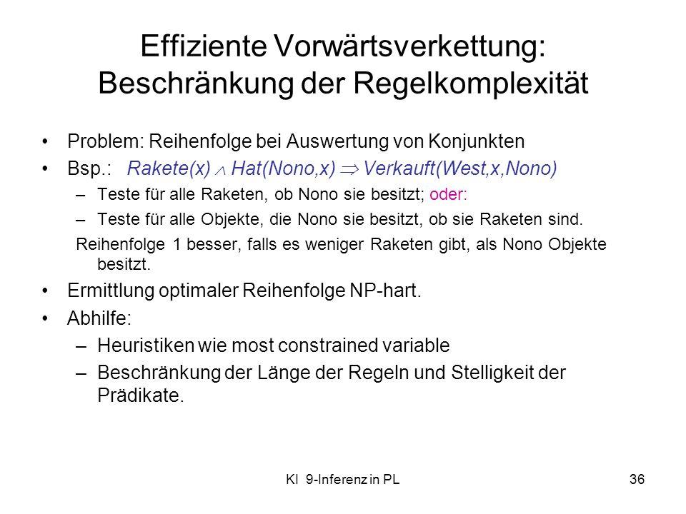 Effiziente Vorwärtsverkettung: Beschränkung der Regelkomplexität
