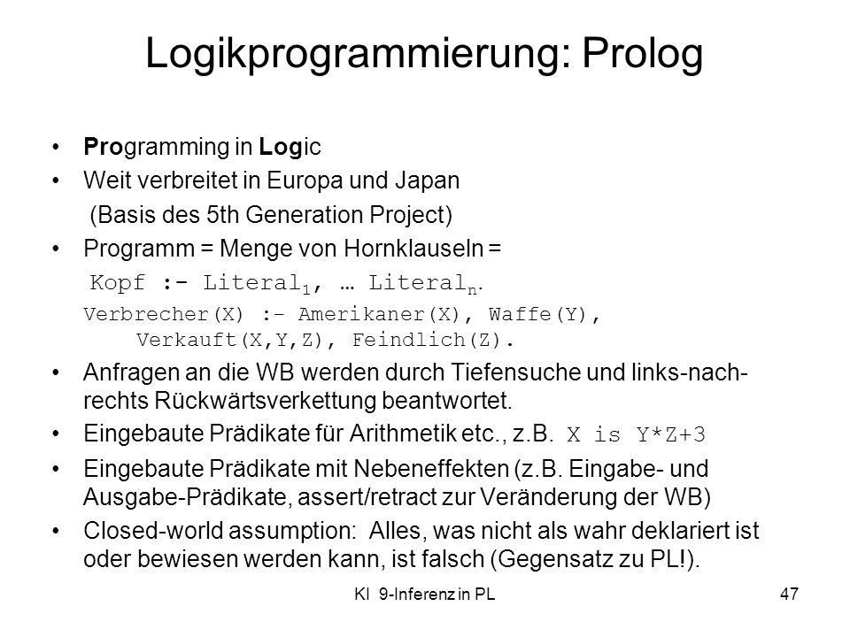 Logikprogrammierung: Prolog