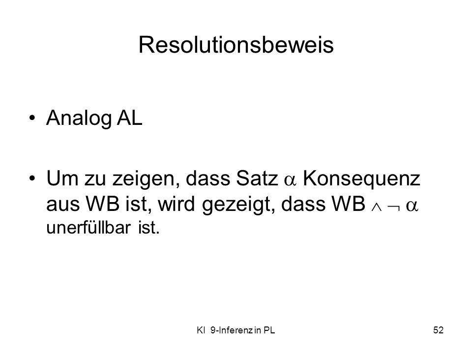 Resolutionsbeweis Analog AL