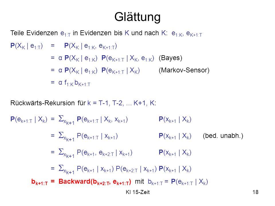 Glättung Teile Evidenzen e1:T in Evidenzen bis K und nach K: e1:K, eK+1:T. P(XK | e1:T) = P(XK | e1:K, eK+1:T)