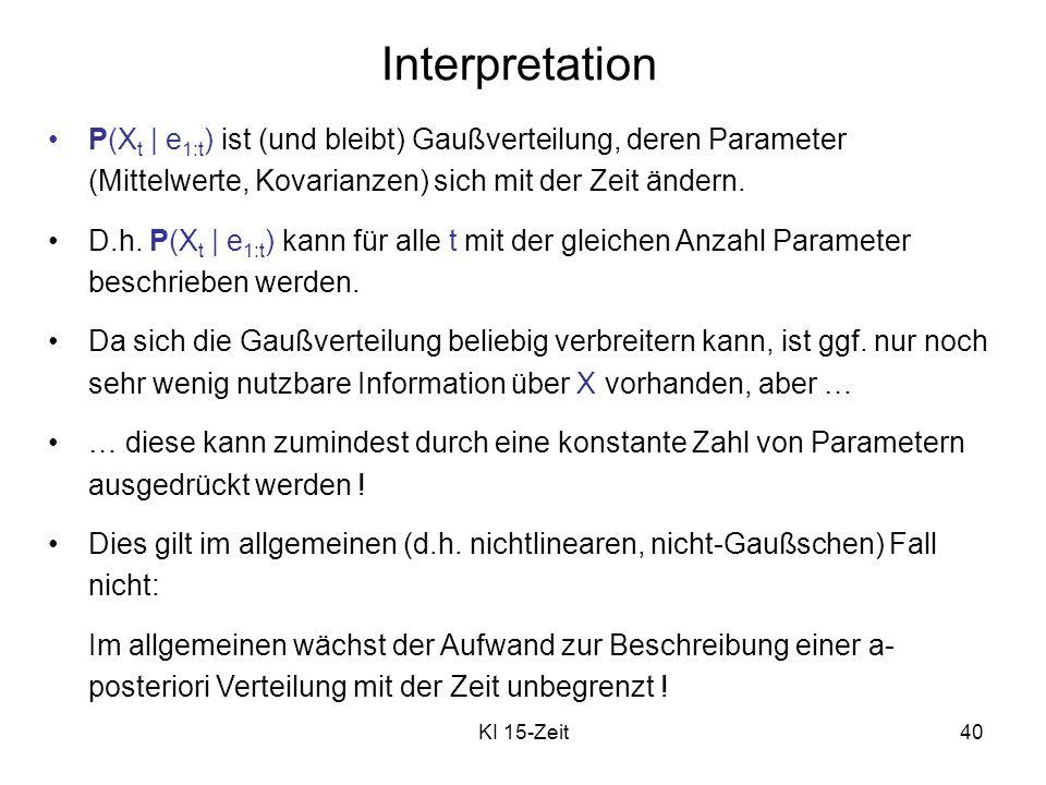 Interpretation P(Xt | e1:t) ist (und bleibt) Gaußverteilung, deren Parameter (Mittelwerte, Kovarianzen) sich mit der Zeit ändern.