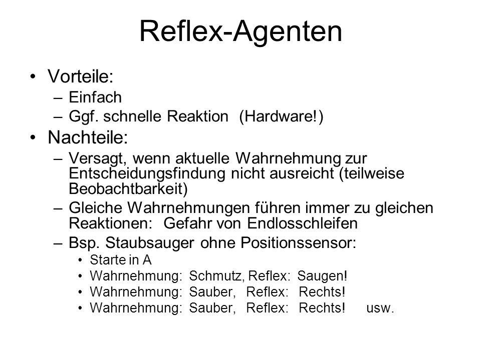 Reflex-Agenten Vorteile: Nachteile: Einfach