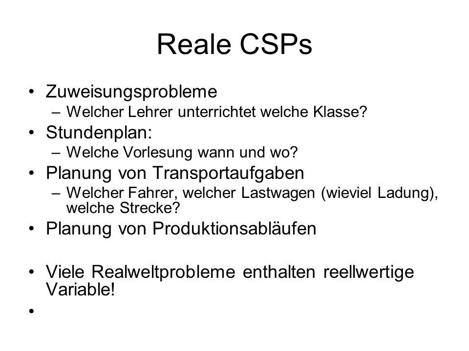 Reale CSPs Zuweisungsprobleme Stundenplan: