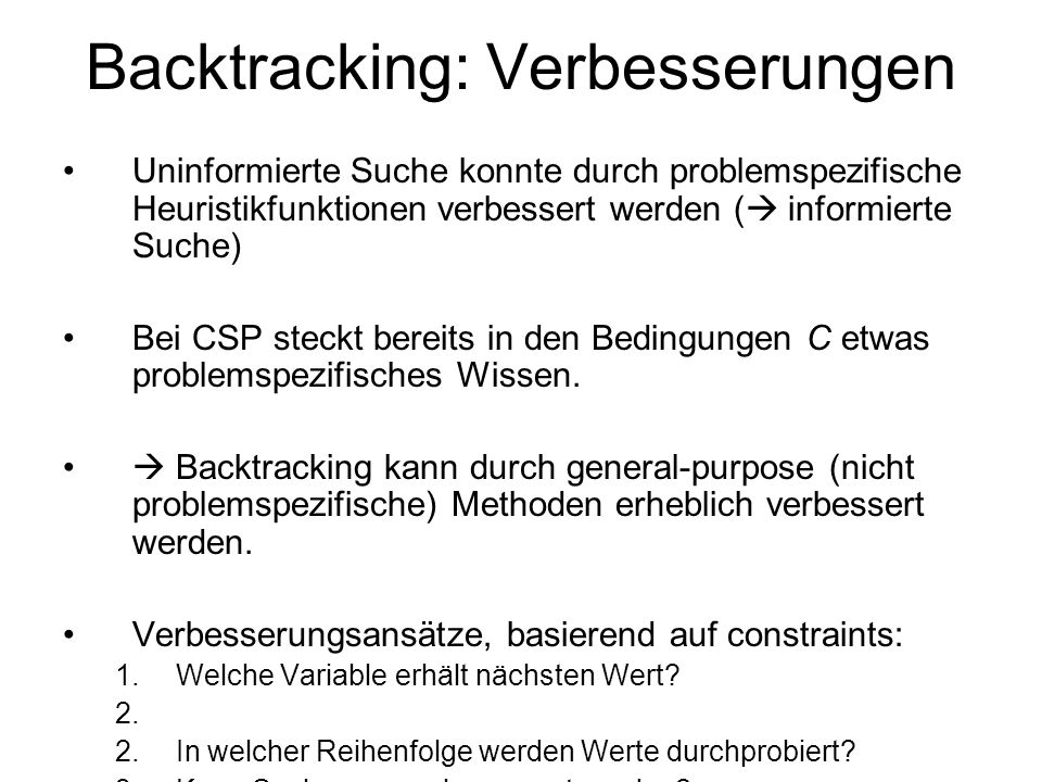 Backtracking: Verbesserungen