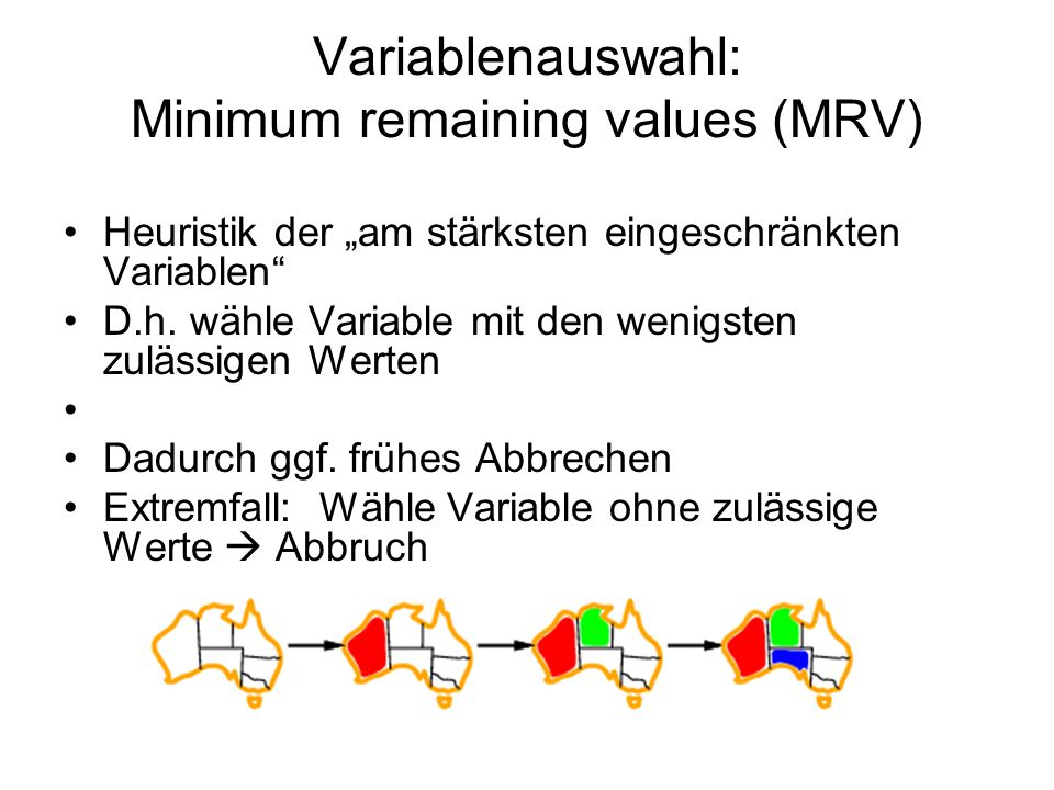 Variablenauswahl: Minimum remaining values (MRV)
