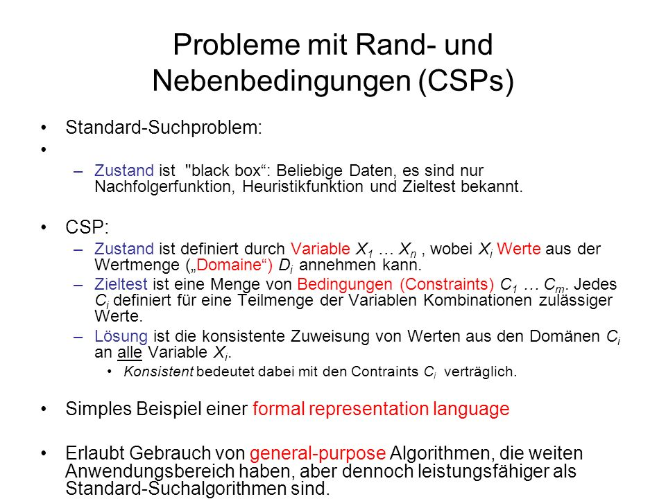 Probleme mit Rand- und Nebenbedingungen (CSPs)