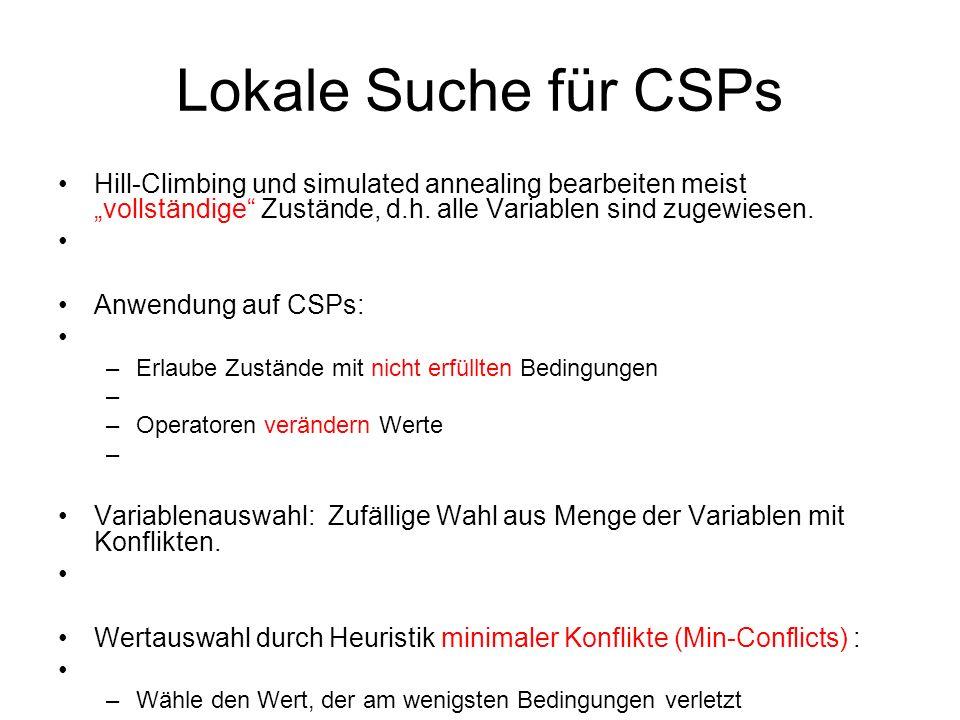 """Lokale Suche für CSPs Hill-Climbing und simulated annealing bearbeiten meist """"vollständige Zustände, d.h. alle Variablen sind zugewiesen."""