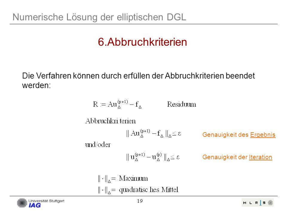 6.Abbruchkriterien Numerische Lösung der elliptischen DGL
