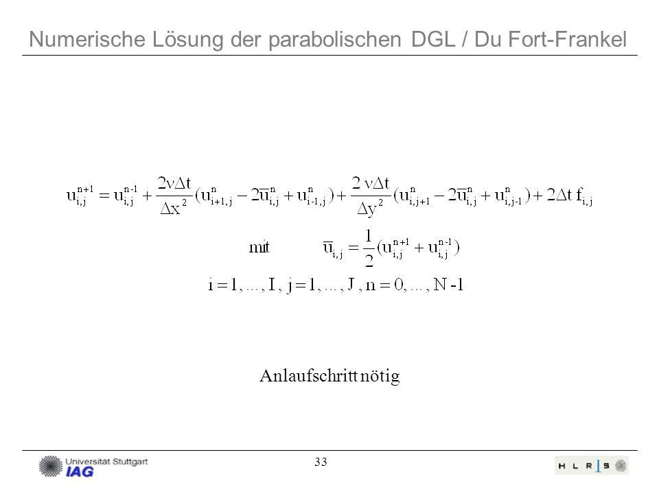 Numerische Lösung der parabolischen DGL / Du Fort-Frankel