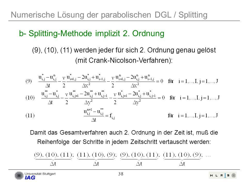 Numerische Lösung der parabolischen DGL / Splitting