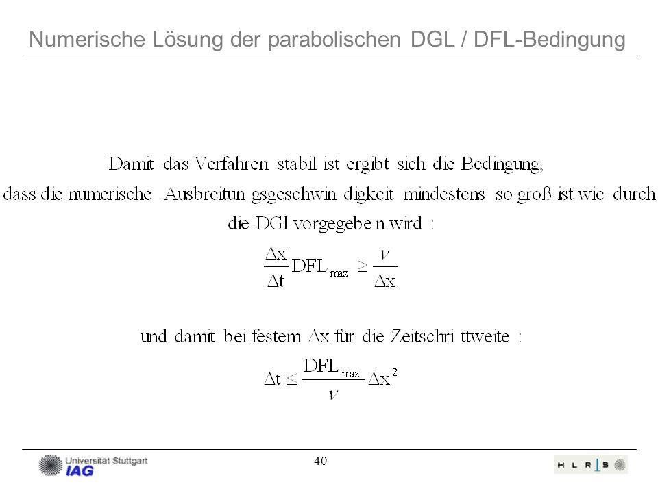 Numerische Lösung der parabolischen DGL / DFL-Bedingung