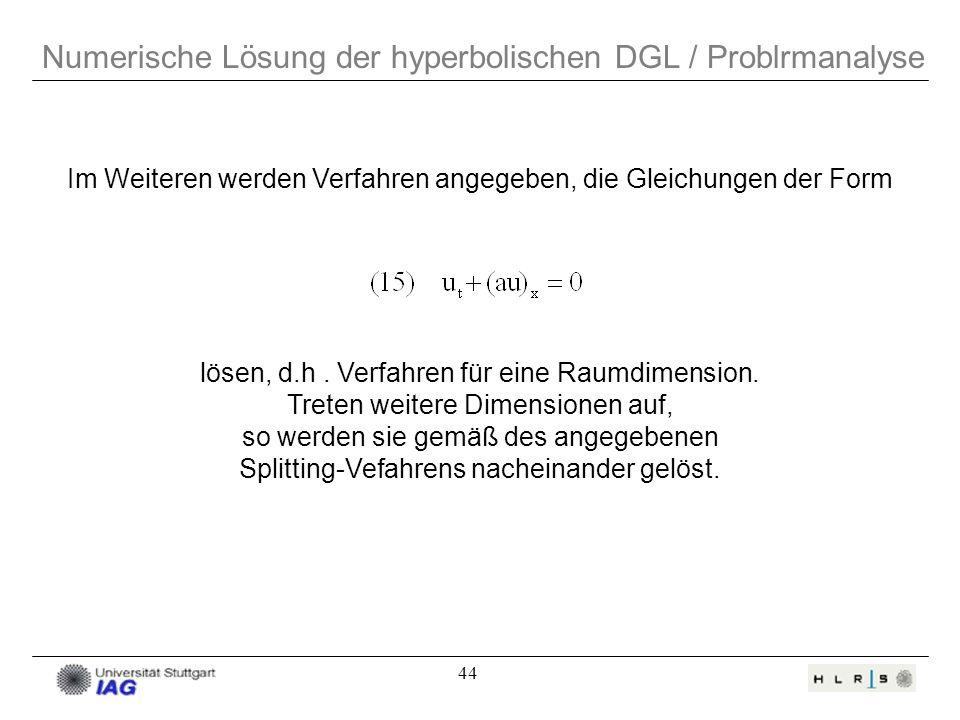 Numerische Lösung der hyperbolischen DGL / Problrmanalyse