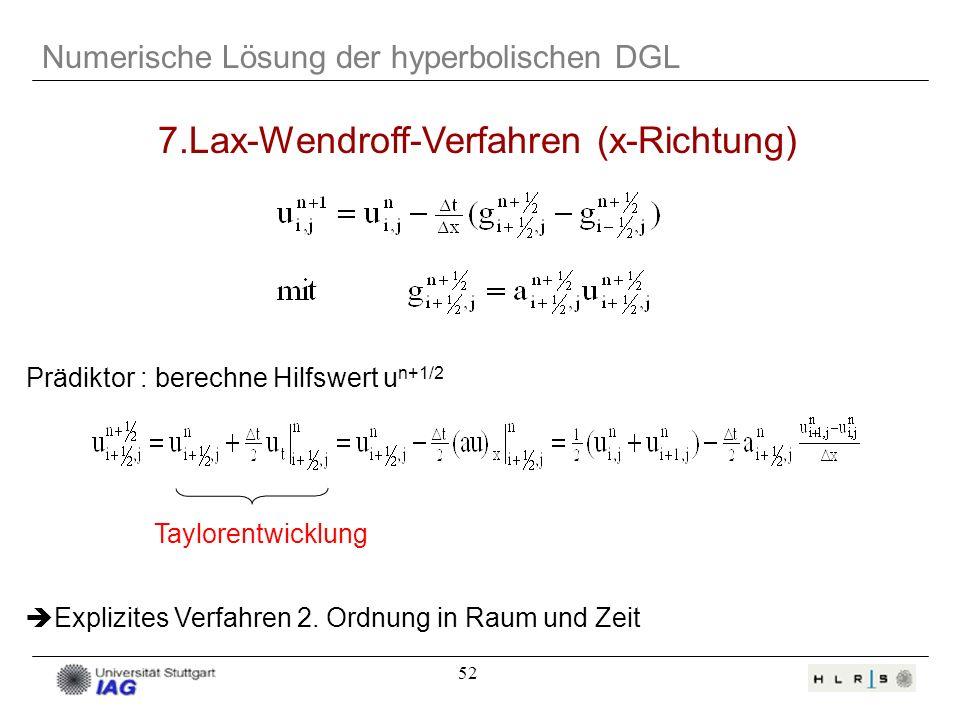 7.Lax-Wendroff-Verfahren (x-Richtung)