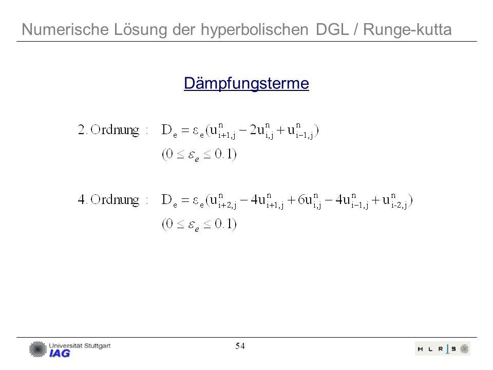 Numerische Lösung der hyperbolischen DGL / Runge-kutta