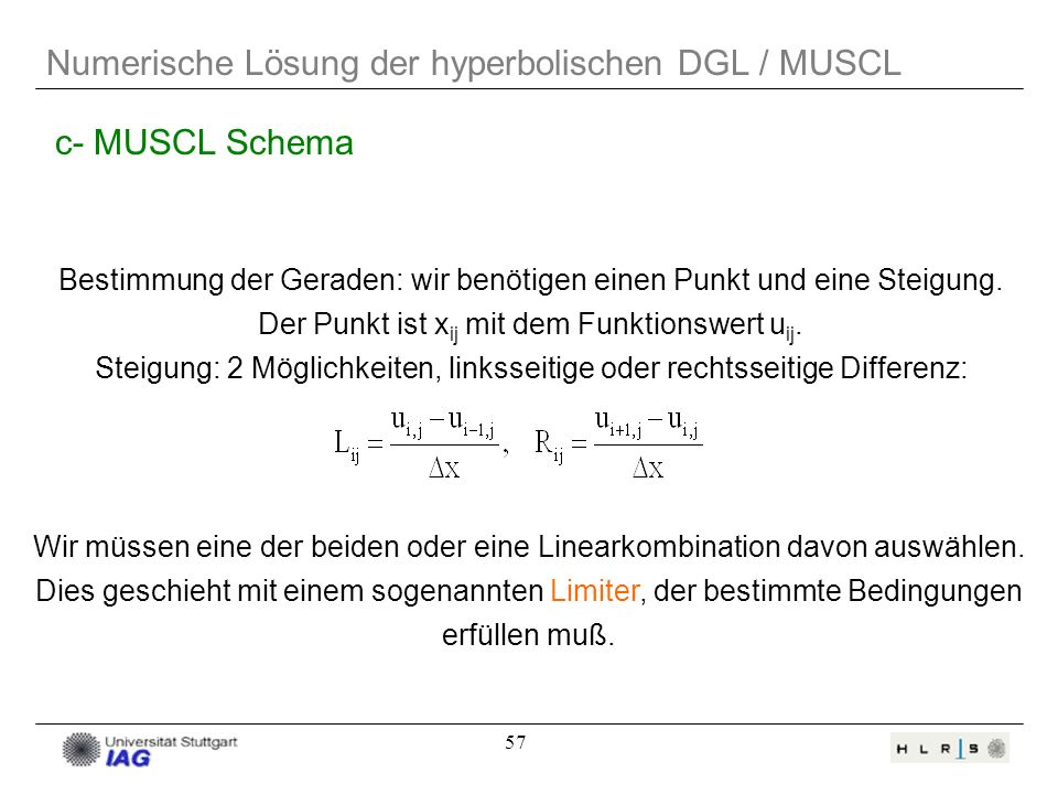 Numerische Lösung der hyperbolischen DGL / MUSCL