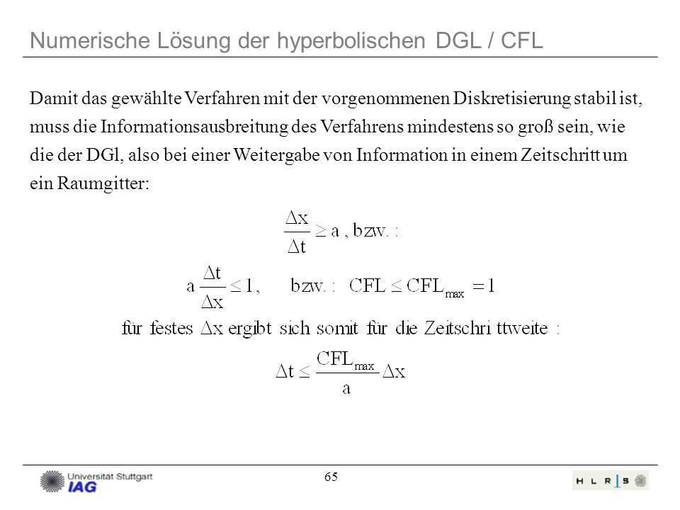 Numerische Lösung der hyperbolischen DGL / CFL