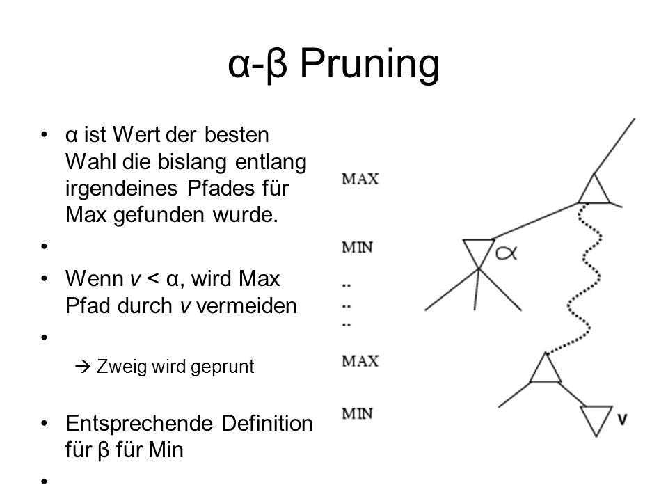 α-β Pruningα ist Wert der besten Wahl die bislang entlang irgendeines Pfades für Max gefunden wurde.