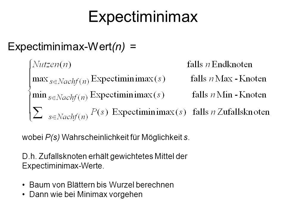 Expectiminimax Expectiminimax-Wert(n) =