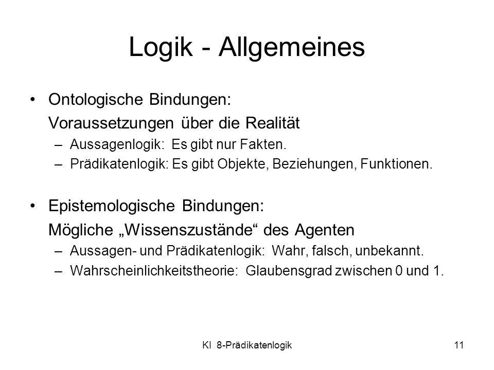 Logik - Allgemeines Ontologische Bindungen:
