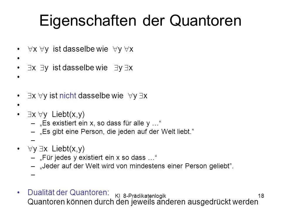Eigenschaften der Quantoren