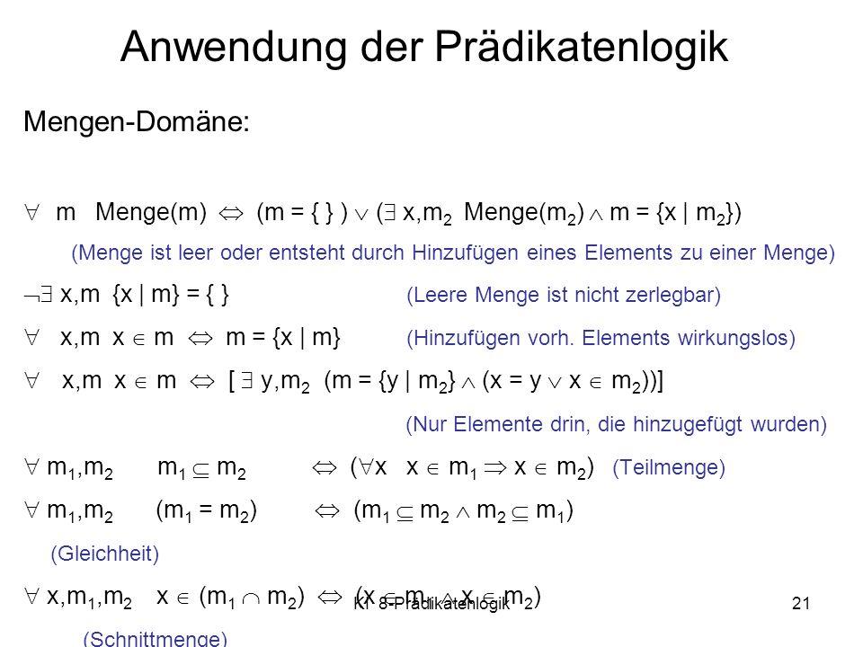 Anwendung der Prädikatenlogik