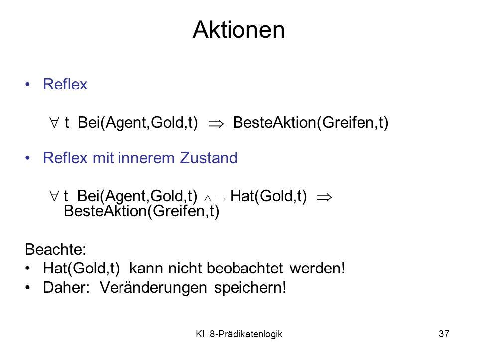 Aktionen Reflex  t Bei(Agent,Gold,t)  BesteAktion(Greifen,t)