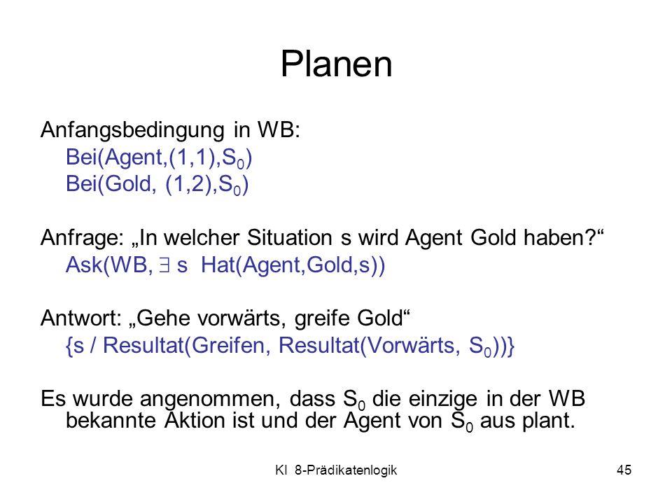 Planen Anfangsbedingung in WB: Bei(Agent,(1,1),S0) Bei(Gold, (1,2),S0)