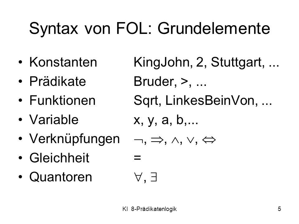 Syntax von FOL: Grundelemente
