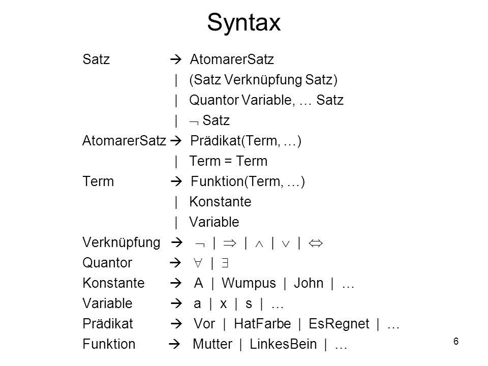 Syntax Satz  AtomarerSatz | (Satz Verknüpfung Satz)