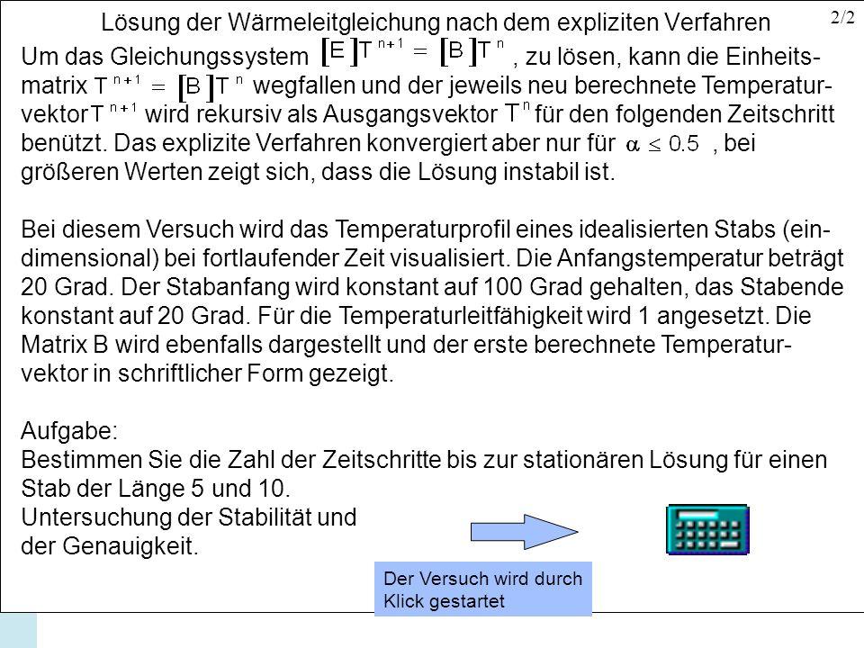 Lösung der Wärmeleitgleichung nach dem expliziten Verfahren