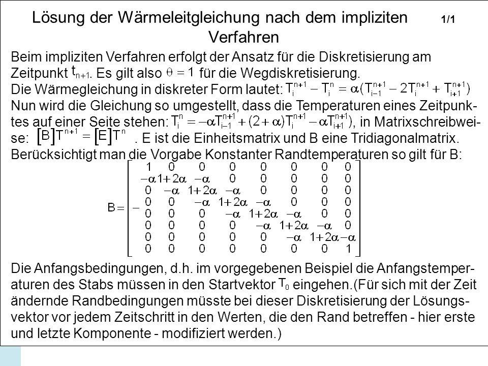 Lösung der Wärmeleitgleichung nach dem impliziten 1/1 Verfahren