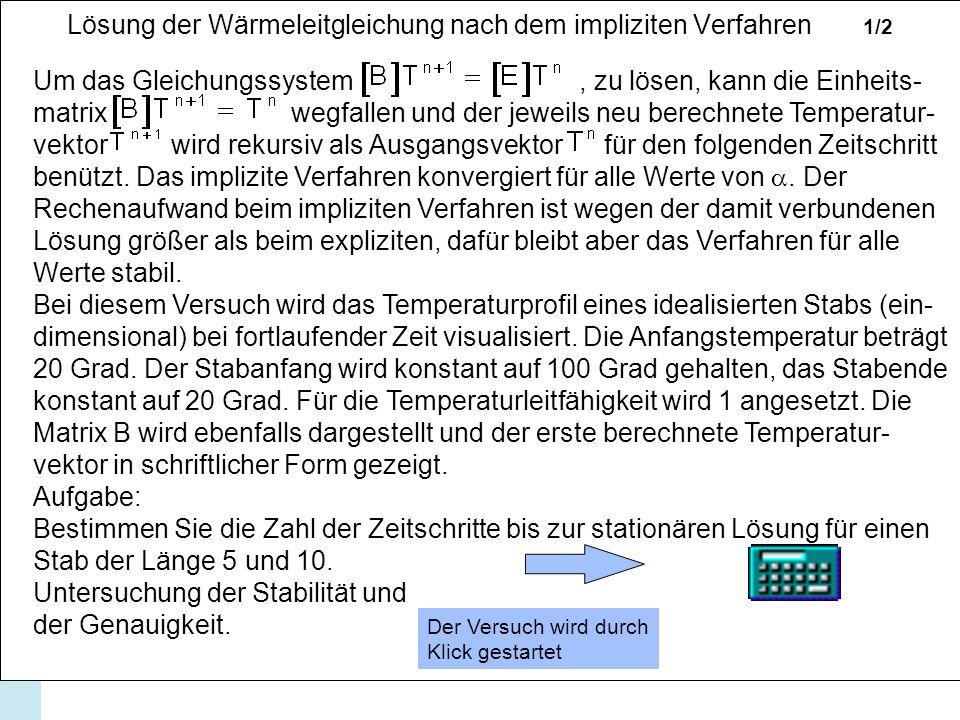 Lösung der Wärmeleitgleichung nach dem impliziten Verfahren 1/2