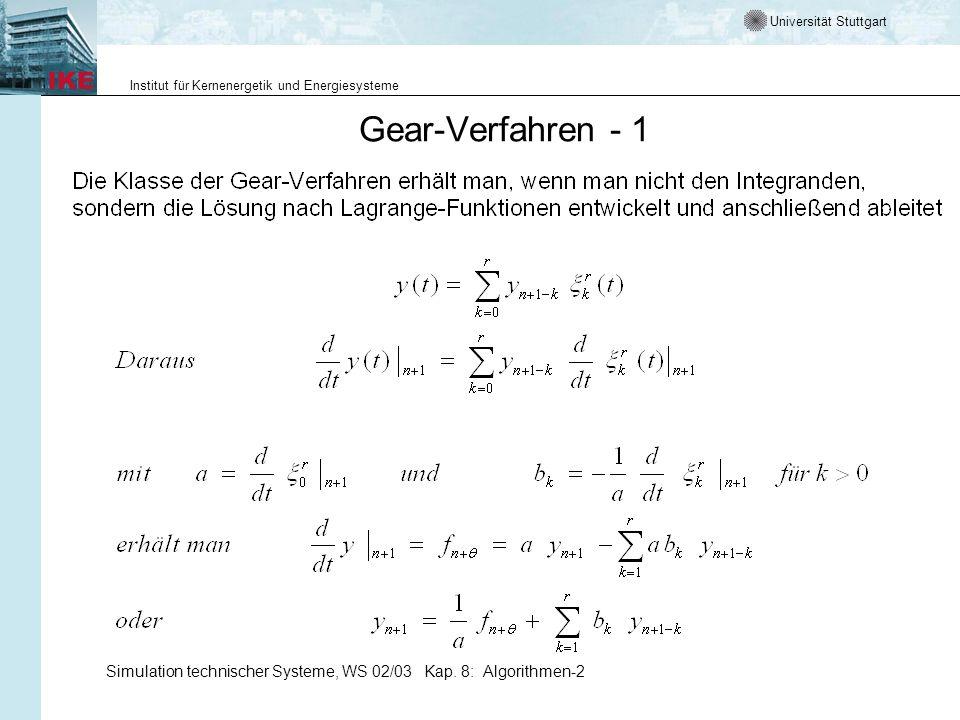Gear-Verfahren - 1 Simulation technischer Systeme, WS 02/03