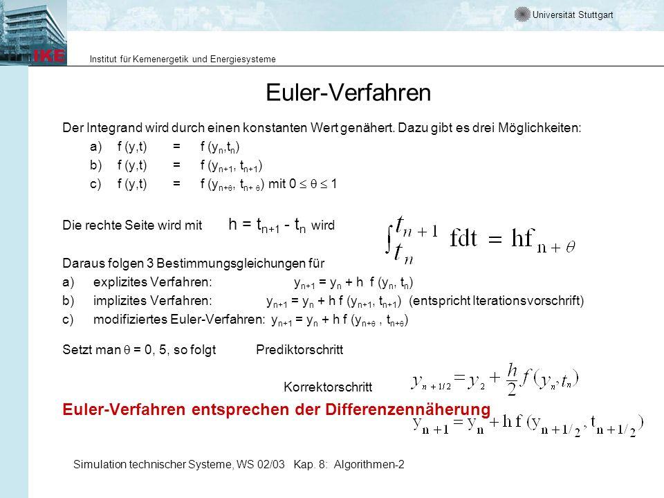 Euler-Verfahren Euler-Verfahren entsprechen der Differenzennäherung