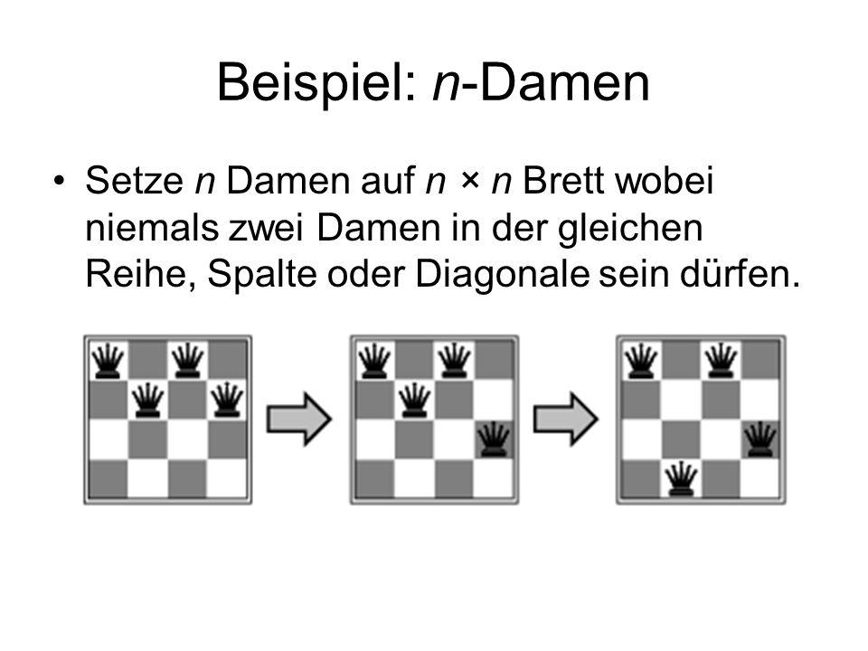Beispiel: n-DamenSetze n Damen auf n × n Brett wobei niemals zwei Damen in der gleichen Reihe, Spalte oder Diagonale sein dürfen.