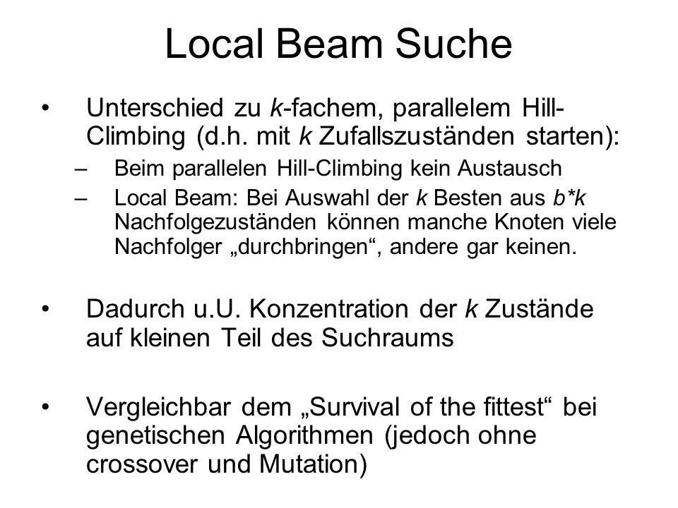 Local Beam SucheUnterschied zu k-fachem, parallelem Hill-Climbing (d.h. mit k Zufallszuständen starten):