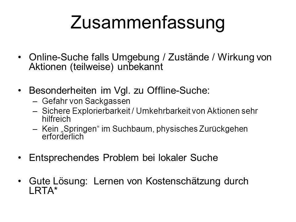 Zusammenfassung Online-Suche falls Umgebung / Zustände / Wirkung von Aktionen (teilweise) unbekannt.