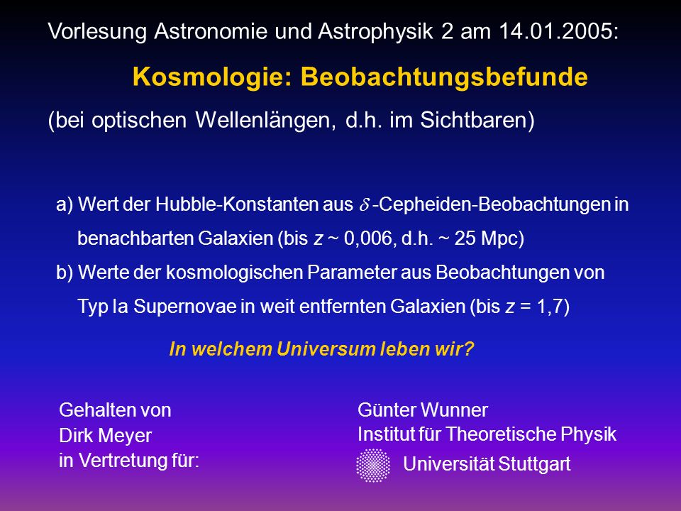 Kosmologie: Beobachtungsbefunde