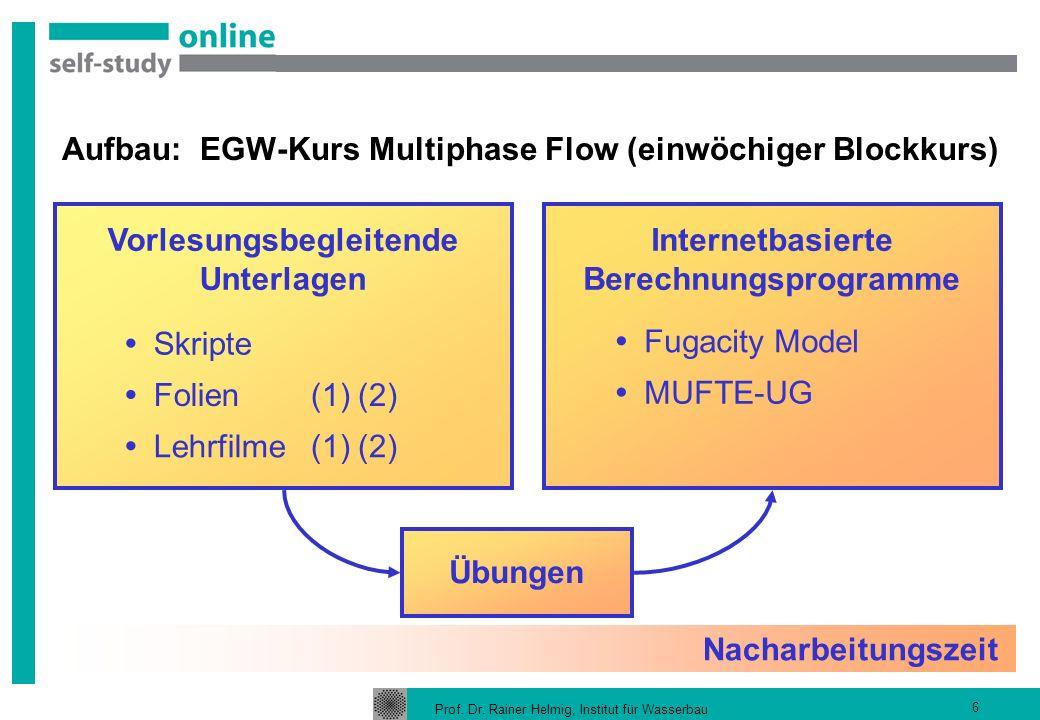 Aufbau: EGW-Kurs Multiphase Flow (einwöchiger Blockkurs)