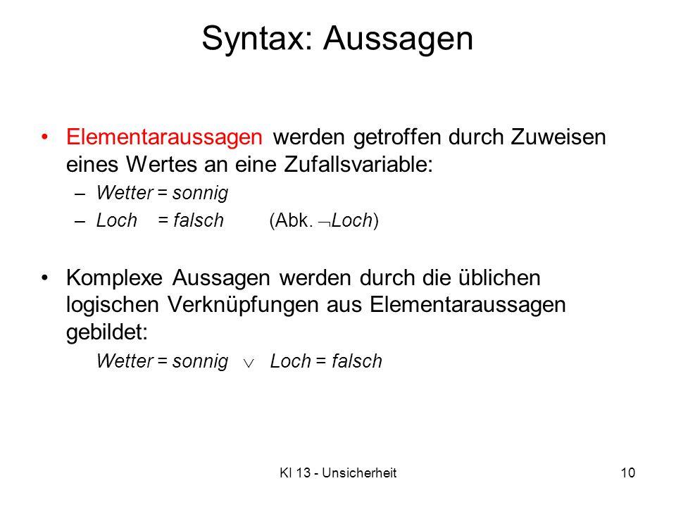 Syntax: Aussagen Elementaraussagen werden getroffen durch Zuweisen eines Wertes an eine Zufallsvariable:
