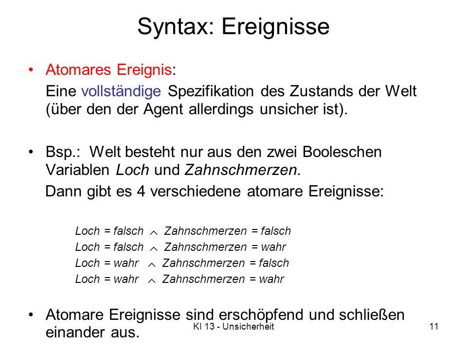 Syntax: Ereignisse Atomares Ereignis: