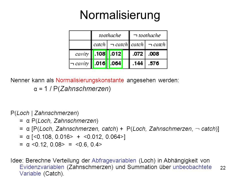 Normalisierung Nenner kann als Normalisierungskonstante angesehen werden: α = 1 / P(Zahnschmerzen)