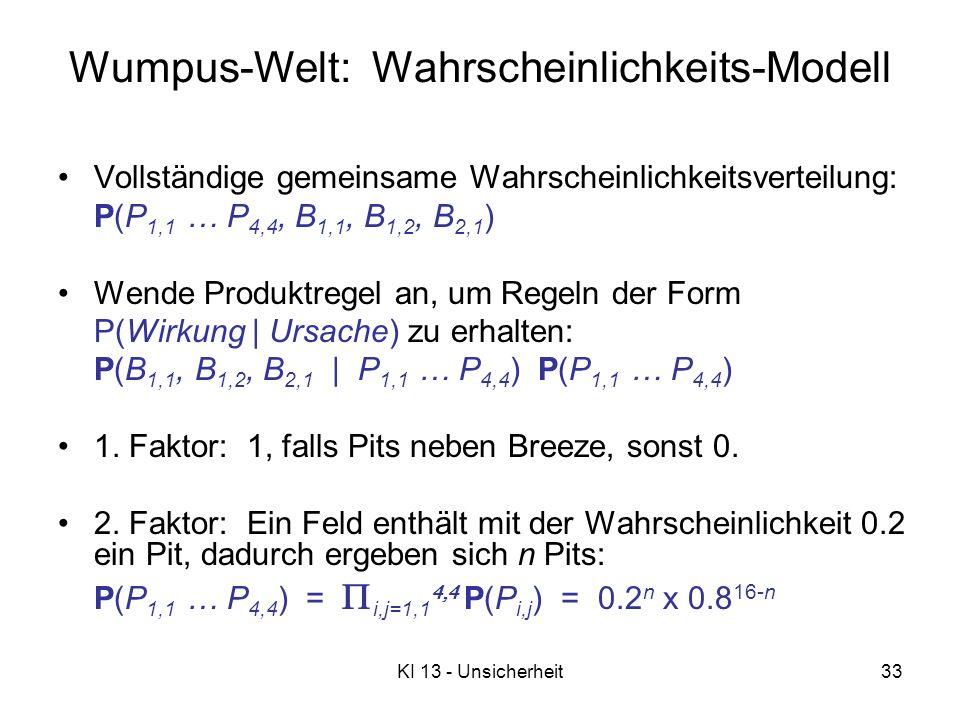 Wumpus-Welt: Wahrscheinlichkeits-Modell